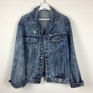 Vintage 80's Guess Acid Washed Denim Jacket
